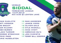 SiddalH2 team sheets